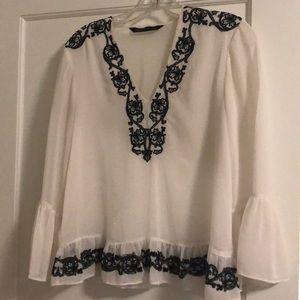 Sheer white ZARA women's blouse w/ embroidery, S